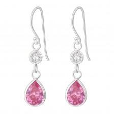 A00402-PK Sterling silver crystal double tear hook ear rings