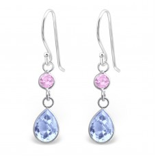 A00402-PK Sterling silver crystal double tear hook ear rings