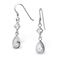 A00402-CR Sterling silver crystal double tear hook ear rings