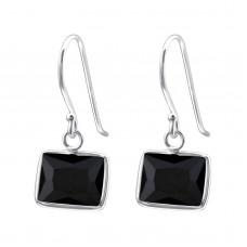 A009X7-BK  Sterling silver Rectangle CZ hook ear rings