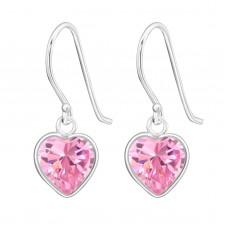 A000H8-PK Sterling silver crystal heart hook ear rings
