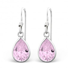 A00010-PK   Sterling silver CZ pear hook ear ring