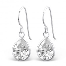 A007X9-SS Sterling silver crystal tear hook ear rings