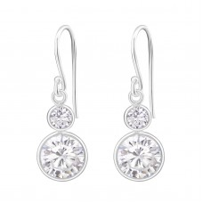 A00005-CR Sterling silver double crystal hook ear rings