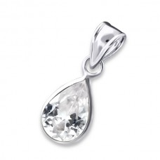 AN7X10-CR  Sterling Silver  CZ tear drop Necklace