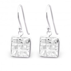 A0109C-CR    Sterling silver Square CZ crystal hook ear rings