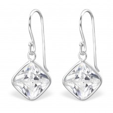 A009V1-CR  Sterling silver SQUARE CZ hook ear rings