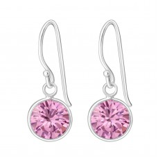 A00008-PK   Sterling silver CZ round hook ear ring