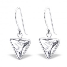 A01010-CR   Sterling silver CZ triangle hook ear ring