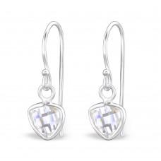 ACZAT6-CR Sterling silver CZ triangle hook ear rings