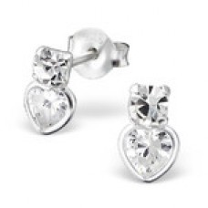 E00569-CR   925 Sterling silver CZ crystal ear rings