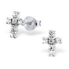E00206-CR   Sterling Silver Cross ear ring with crystals