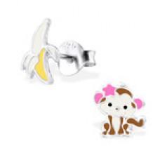 E01764-MX    Sterling Silver Monkey Banana Ear rings