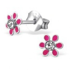 E01267-PK Sterling Silver Flower Ear rings with clear crystals