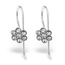 E01263-CR  Sterling Silver Flower Hook Ear rings with clear crystals