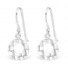 A01446-FL  Sterling silver open circle hook ear ring