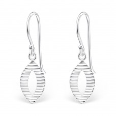 A01448-SS   Sterling silver oval hook ear ring