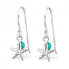 A01879-AQ   Sterling Silver Star Fish Hook Ear rings