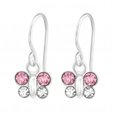 E02135-PK   Sterling Silver crystal butterfly Hook Ear rings