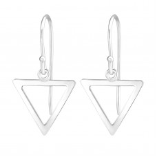 A02531-SS    Sterling silver open triangle hook ear ring