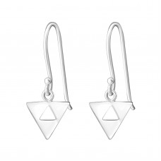 A02612-SS    Sterling silver triangle hook ear ring