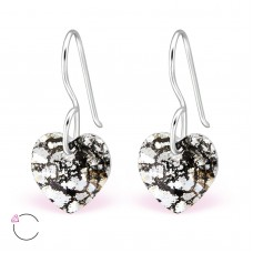 A06228-GR  Sterling silver Swarovski heart element hook ear rings