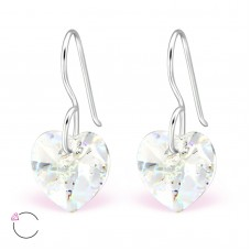 A06228-CR  Sterling silver Swarovski heart element hook ear rings