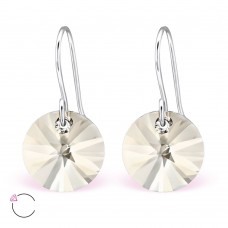 A06428-GO   Sterling silver Swarovski element hook ear rings