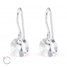A06428-CY  Sterling silver Swarovski element hook ear rings