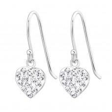 A00036-CR Sterling silver crystal heart hook ear rings
