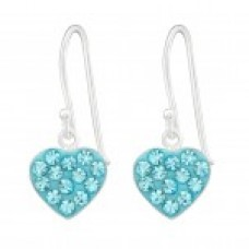 A00036-AQ Sterling silver crystal heart hook ear rings