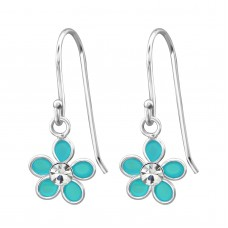 A00684-TQ   Sterling Silver Drop Flower Ear rings