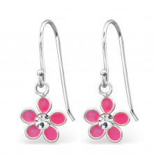 A00684-PK   Sterling Silver Drop Flower Ear rings