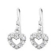 A00387-CR  Sterling silver crystal open heart hook ear rings