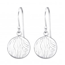 A07502-OX  Sterling silver lacy disk hook ear rings