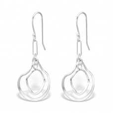 A01055-SS  Sterling silver Double twist hook ear rings