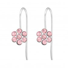 E01264-PK  Sterling Silver Flower Hook Ear rings with clear crystals
