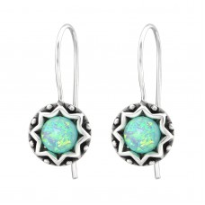 "A02890-MT Sterling silver ""opal"" hook ear rings"