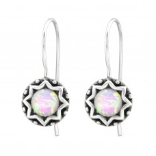 "A02890-OX  Sterling silver ""opal"" hook ear rings"