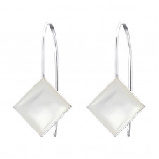 A00050-SH  Sterling silver SQUARE Shell hook ear rings
