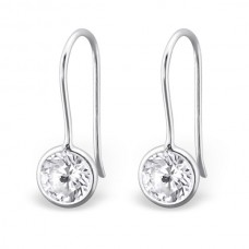 A000R6-CR   Sterling silver CZ round hook ear ring