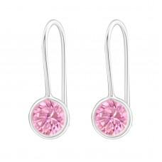 E000R6-PK Sterling Silver Pink CZ drop hook Ear rings