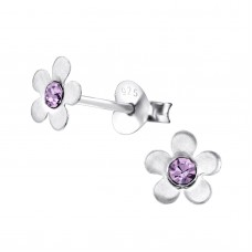 E00074-PU Sterling Silver Flower Ear rings with crystals