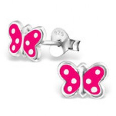 E01170-CE Sterling Silver polka dot butterfly Ear Rings with epoxy