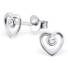 E01172-CR Sterling Silver open heart & crystal Ear Rings