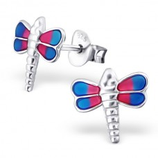 E01239-PK Sterling Silver Dragon fly Ear Rings with epoxy
