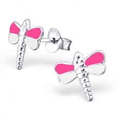 E01239-WH Sterling Silver Dragon fly Ear Rings with epoxy