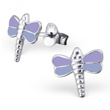 E01239-PU Sterling Silver Dragon fly Ear Rings with epoxy