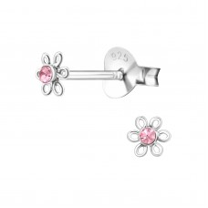E01266-PK Sterling Silver Flower Ear rings with Crystal center
