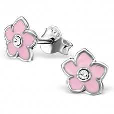 E01303-PK Sterling Silver Flower Ear rings with crystal and epoxy